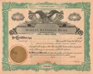 Bogata National Bank stock certificate circa 1914