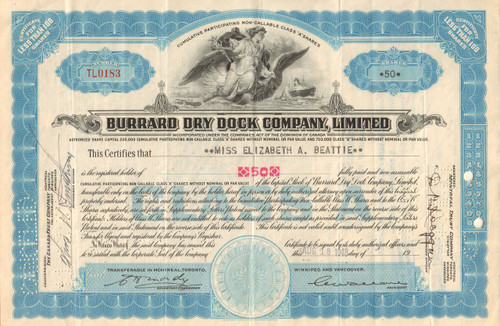 Burrard Dry Dock Limited stock certificate 1960's  - blue