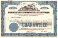 Richmond, Fredericksburg, and Potomac Rail Road Company stock certificate blue