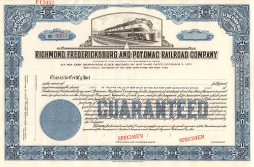 Richmond, Fredericksburg, and Potomac Rail Road Company stock certificate blue