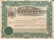 Army and Navy Club of Newport News VA stock certificate circa 1907
