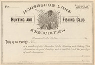 Horseshoe Lake Hunting and Fishing Club  stock certificate circa 1895  (Illinois)