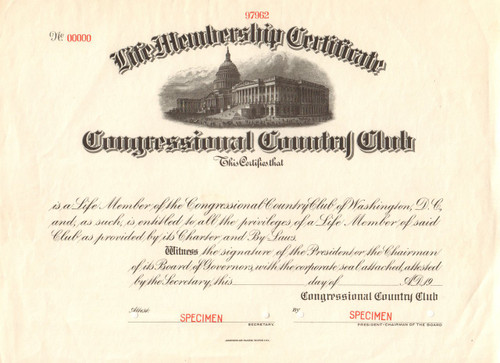 Congressional Country Club membership certificate specimen