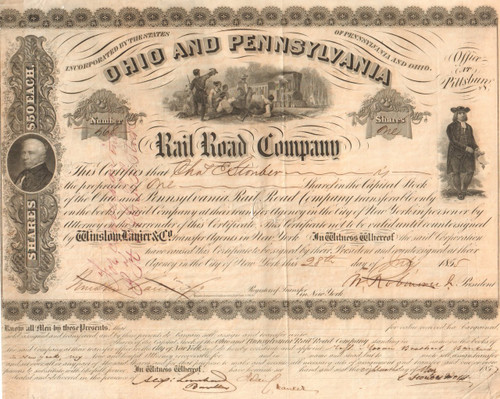 Ohio and Pennsylvania Rail Road Company stock certificate 1855