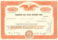 Washington Real Estate Investment Trust stock certificate 1971 (DC REIT) - orange