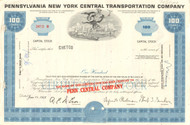 Pennsylvania New York Transportation Company stock certificate 1960's - blue