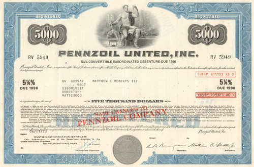 Pennzoil United Inc $5000 bond 1970's (oil, gas, racing)