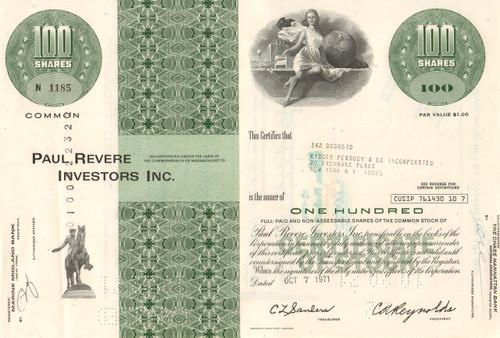 Paul Revere Investors stock certificate 1971 (insurance and investing)