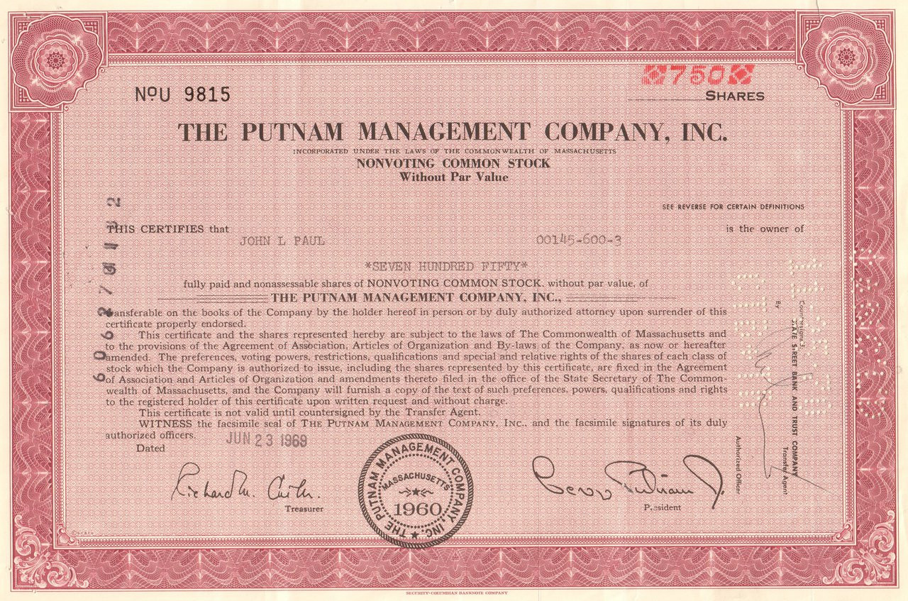 The Putnam Management Company stock certificate 1960's ...