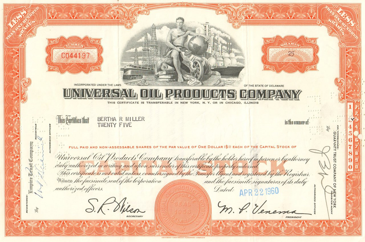 8e67d69f Universal Oil Products stock certificate 1970's - orange