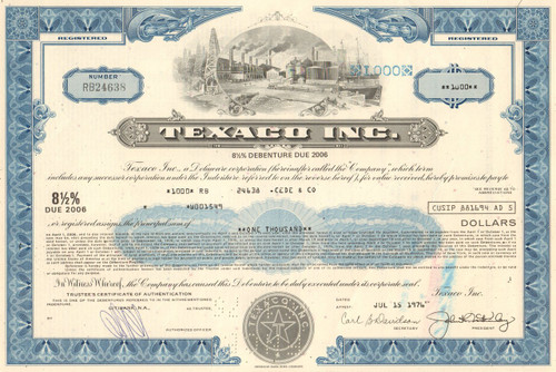 Texaco bond certificate 1976 (oil and gasoline)