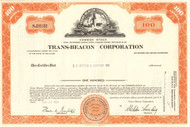 Trans-Beacon Corporation stock certificate 1969 (formerly RKO Pictures)