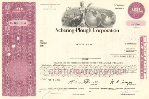 Schering-Plough Corporation stock certificate 1971 (merged with Merck)