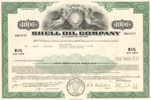 Shell Oil Company $1000 bond certificate 1974