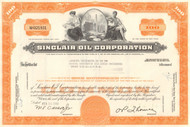 Sinclair Oil Corporation stock certificate 1960's - orange