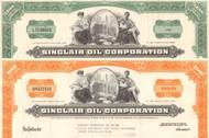 Sinclair Oil Corporation stock certificate 1960's - set of 2 colors