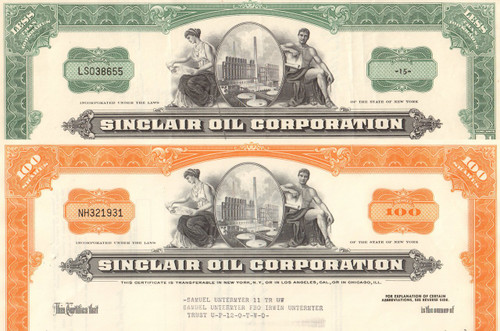 Sinclair Oil Corporation stock certificate 1960's - set of 2 colors