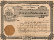 Talking Clock Manufacturing Company stock certificate circa 1910 - front
