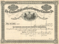 The Tarentum Light and Heat Company stock certificate circa 1883