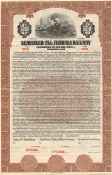 Seaboard-All Florida $500 bond certificate specimen