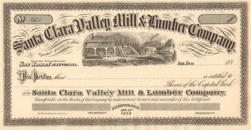 Santa Clara Valley Mill & Lumber Company stock certificate 1870's