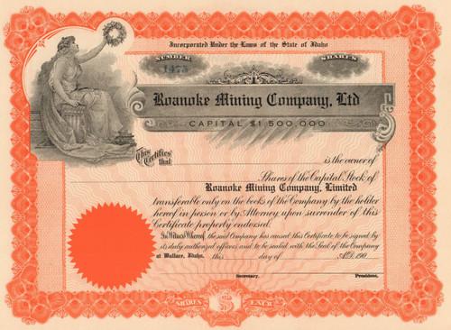 Roanoke Mining Company stock certificate 1900's (Wallace, Idaho)