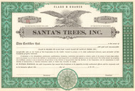Santa's Trees Inc. stock certificate 1950's - green
