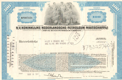 Royal Dutch Petroleum Company stock certificate 1970's
