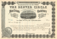 Denver Circle Real Estate Company  stock certificate 1880's