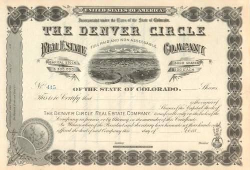 Denver Circle Real Estate Company  stock certificate 1880's