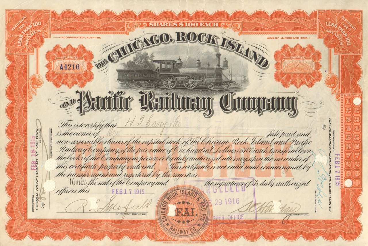 1800/'s Mississippi and Missouri Rail Road Company Stock Certificate