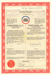 Eurotunnel PLC/SA share certificate 1988