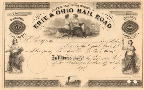 Erie & Ohio Rail Road stock certificate circa 1852