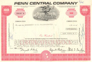 Penn Central Company stock certificate 1970's - red - dealer lots