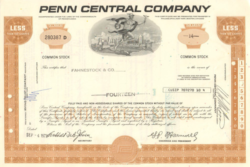 Penn Central Company stock certificate 1970's - gold- dealer lots