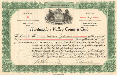 Huntingdon Valley Country Club stock certificate 1934