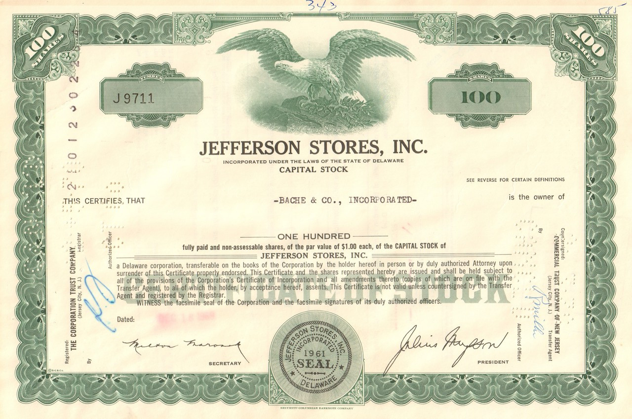 Capital Stock Certs. Buffalo City Service Corporation