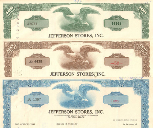 Jefferson Stores Inc stock certificate 1960's - set of 3 colors