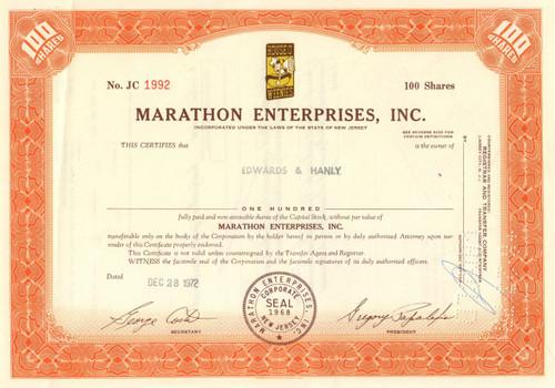 Marathon Enterprises stock certificate 1970's