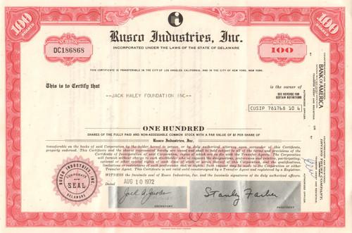 Rusco Industries Inc. stock certificate 1970's