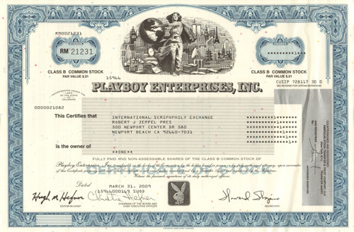 Playboy Enterprises Inc stock certificate 2009