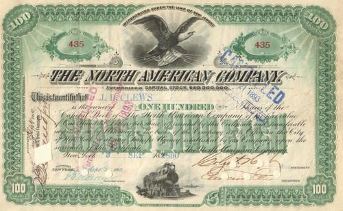 The North American Company stock certificate 1890's