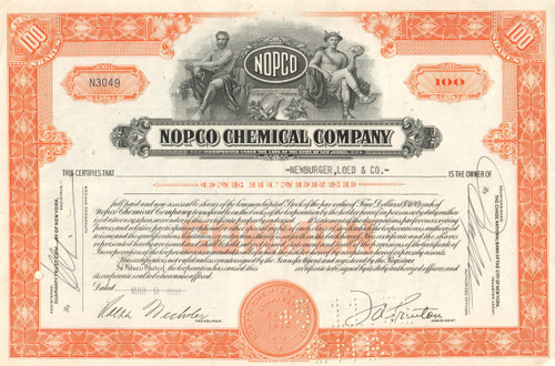 NOPCO Chemical Company stock certificate 1950's - orange