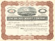 Hazard Wharf Company of Baltimore City stock certificate 1900's