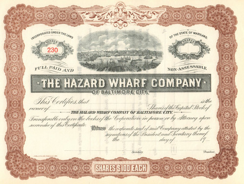Hazard Wharf Company of Baltimore City stock certificate 1900's