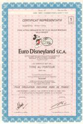 Euro Disneyland S.C.A. bearer bond certificate 1989