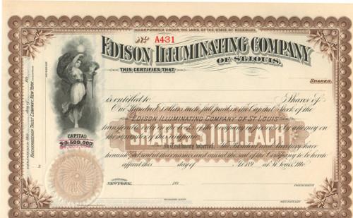 Edison Illuminating Company stock certificate 1890's - brown