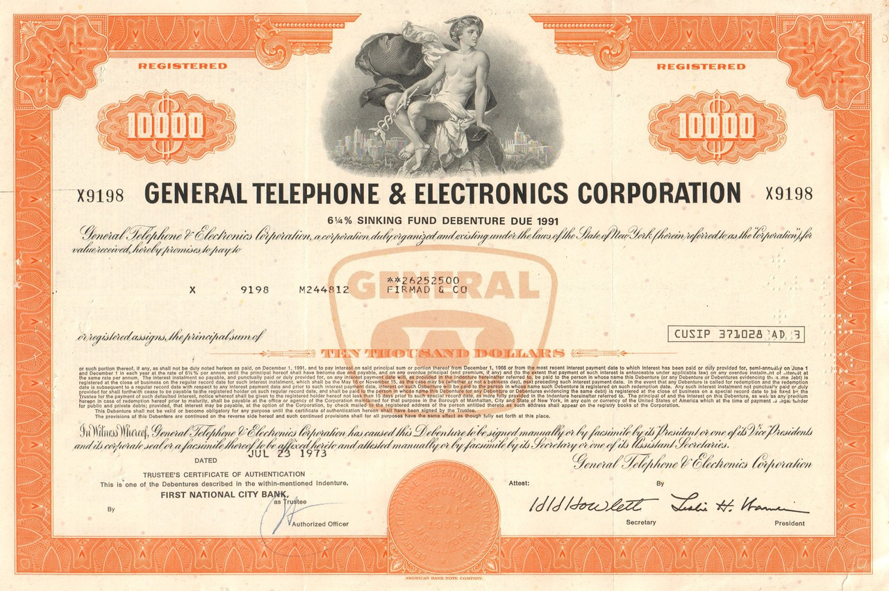General Telephone Electronics Corporation 1970 S Gte