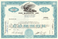 Fox Markets Inc. stock certificate 1960's
