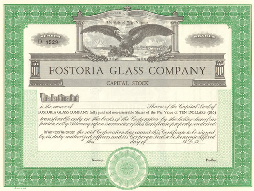 Fostoria Glass Company stock certificate circa 1950 (West Virginia)